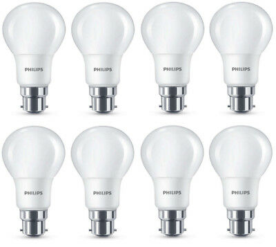 8 x Philips LED Frosted B22 Bayonet Cap 40W Warm White Light Bulbs Lamp 470 Lm