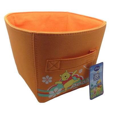 Ordinett Orange Winnie the Pooh Medium-Sized Canvas Storage Basket Bin Kids