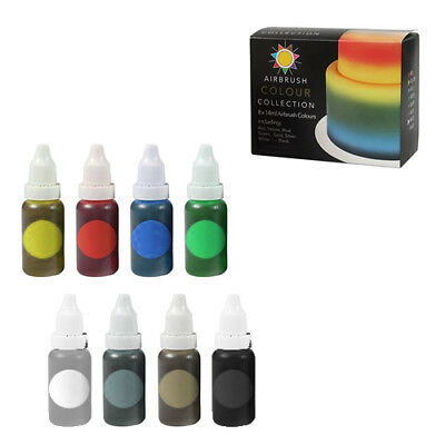 Sugarflair 8 x 14ml Airbrush Colour Collection Liquid Food Dye Cake Decoration