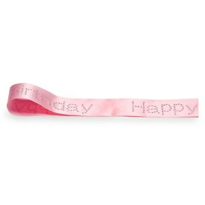 Diamante Happy Birthday Ribbon Sparkly Bling Cake Decoration PINK 40mm x 10m