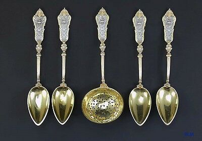 5pc Antique European Gilt  Silver Bacchus Demitasse Spoons & Tea Strainer Set
