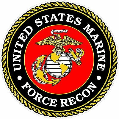 "United States Marine Corps FORCE RECON 4.5"" Round Decal USMC USA Military"