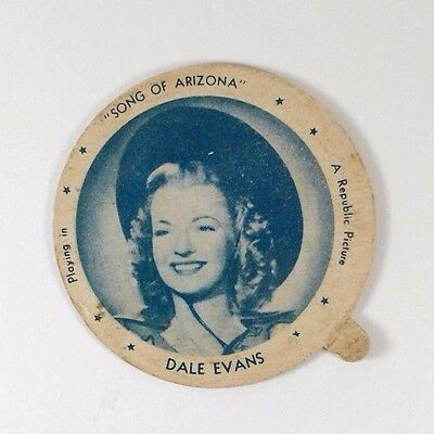Dale Evans Song of Arizona 1940's Hygeia Dixie Ice Cream Lid Movie Star Vintage
