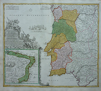 Homann: Old coloured Copperplate Map Portugal Brazil Brasil; um 1720