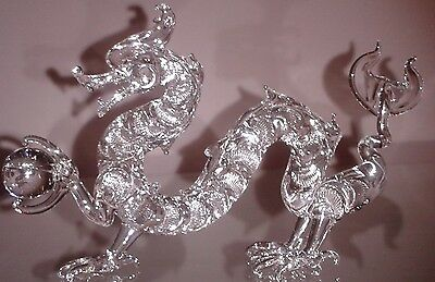 Hand Blown Solid Glass Dragon With Crystal Ball Large Original Masterpiece