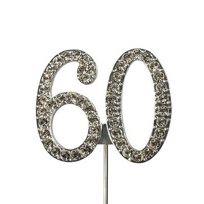 Culpitt 60 DIAMANTE NUMBERTopper Wedding Anniversary Birthday Cake Decorations