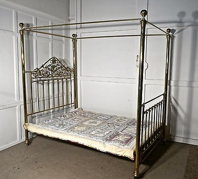 Victorian Art Nouveau 4 Poster Double Brass Bed