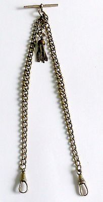 A Vintage Nickel Double Albert Pocket Watch Chain With T-Bar & Tassel Attached