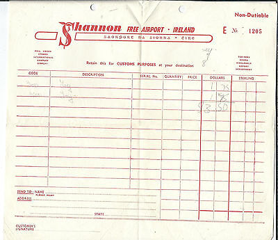 MA-009 - Shannon Free Airport Ireland, Vintage 1950's Invoice for Non Dutiable
