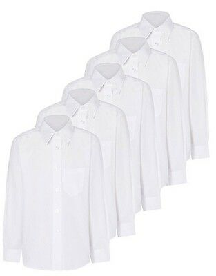 Girls School 5 Pack Long Sleeve Shirts Blouse - White Age 3 to 16 Uniform
