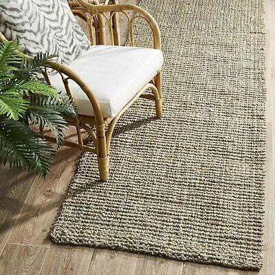 RAMONA NATURAL CHUNKY JUTE PLATINUM GREY FLOOR RUNNER RUG 80x300cm **FREE DELIVE