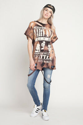 084b924a5c Nirvana T Shirt Rock Band Tie Dye Distressed Over sized T shirt Dress  Vintage