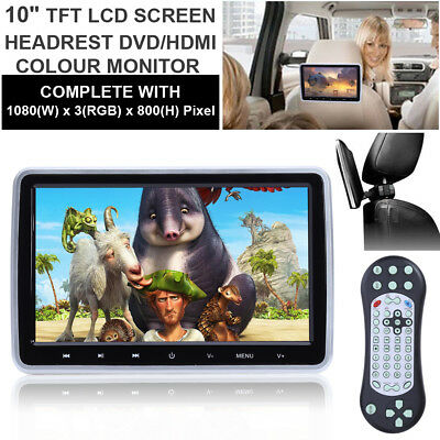 "HDMI 10"" HD Digital TFT LCD Screen Car Headrest Monitor DVD/USB/SD Player IR/FM"