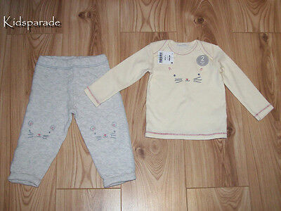 NEW BABY GIRLS NEXT 2 PIECE SET 9-12 months,Cream little mouse top & trousers