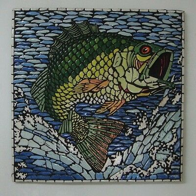 Fishing picture Handmade in England Mosaic Tile Art for Fisherman