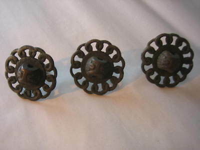 Vintage Lot of 3 Ornate Drawer Pull Back parts
