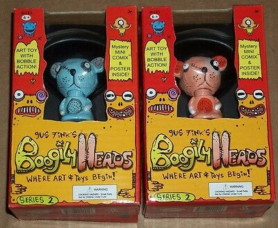 Rocket USA BOOGILY HEADS Gus Fink CHEEZOR and PEACH VARIANT Series 2 BOBBLE New