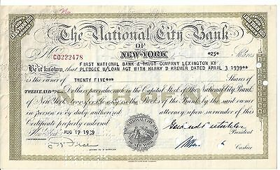 The National City Bank Of New York.........1942 Stock Certificate