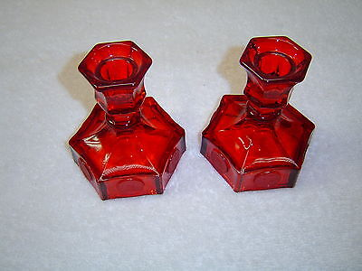 Fostoria Glass Co. Ruby Red Coin Glass Candle Holders (pr.)