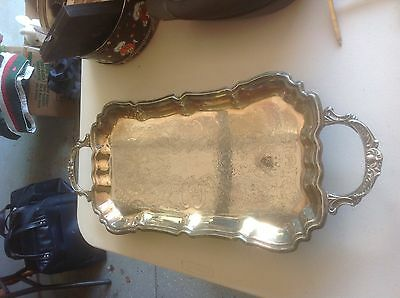 Vintage Leonard Silver Plated Footed Serving Tray With Handles