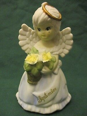 """VINTAGE CERAMIC ANGEL """"SEPTEMBER"""" w/FLOWERS 4"""" TALL HAND PAINTED TAIWAN"""