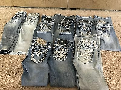 Lot Of 9 Pairs Miss Me Girls Size 8 Jeans/Crops