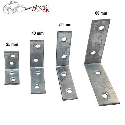 SMALL/LARGE STEEL RIGHT ANGLE BRACKET 25/30/40/50/60/80 L Corner Repair Brace