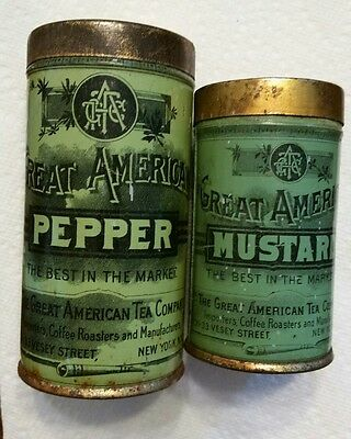 Vintage Great American Tea Company Pepper And Mustard Tin