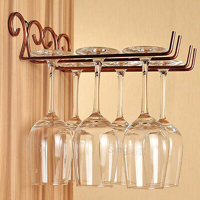 2Rows Wall Mounted Wine Rack Glass Holder Hanging Bar Home Stainless Steel Shelf