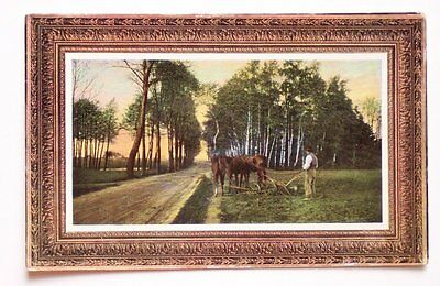 1911 Man Plowing with Three Horses Farming Country Road Postcard