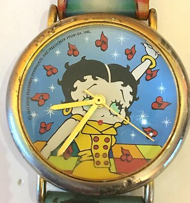 Vintage Betty Boop Wristwatch. Holographic Band, Runs Well