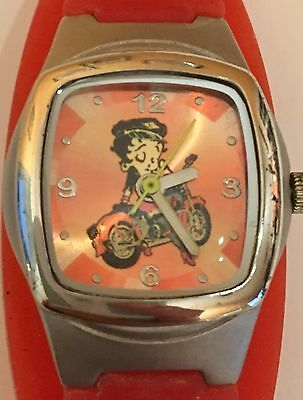 Vintage Betty Boop Wristwatch. Riding Motorcycle, Pink Plastic Band, Runs Well