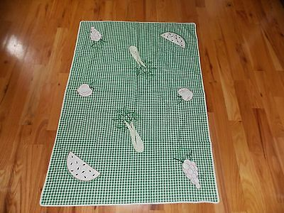 Vegetable Fruit Tablecloth Vintage Handmade Applique Embroidered Green Checkered