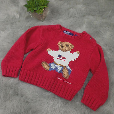 Polo Ralph Lauren Sz 12 - 18 Mos Infant Toddler Boys Sweater Red Bear Flag L/XL