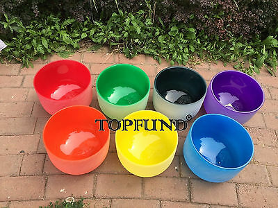 """8""""-12"""" Chakra Tuned Set of 7 Colored Frosted Quartz Crystal Singing Bowls"""
