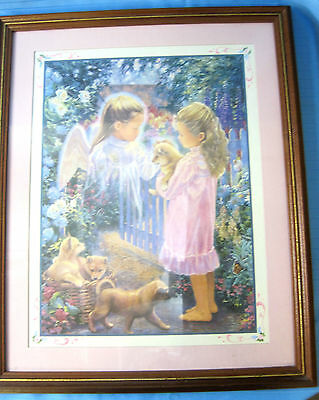 "Shiba Inu Puppy Dogs & Angel Framed Art Print Home Interiors 22"" X 18"" #1"