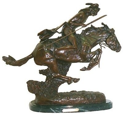 Horseback Native American Statue Bronze Indian Warrior Western Sculpture Marble