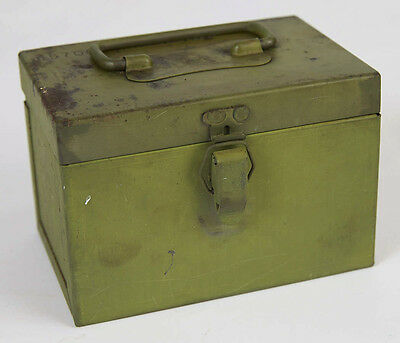 US Military Green Metal Chest Box Case Hinged Lid, Small Vintage
