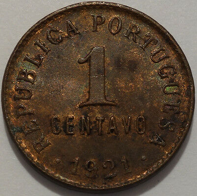 Portugal 1 centavo 1921 rare key date beautiful condition coin!