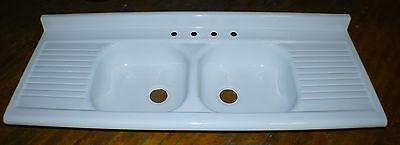 Vintage Porcelain & Cast Farm Kitchen Double Sink & Drain Board Can Deliver