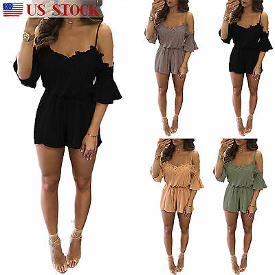 Women Ladies Clubwear Summer Mini Playsuit Party Jumpsuit Romper Trousers Shorts