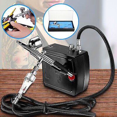 AU Precision Dual-Action AIRBRUSH AIR COMPRESSOR SET KIT Craft Cake Hobby Paint