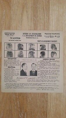 Raymond Hamilton Wanted Poster Bonnie and Clyde Gang Member Authentic Original