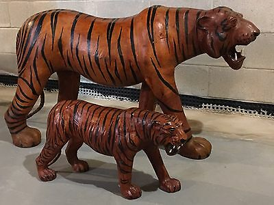 Vintage 1970s Massive Leather TIGER Sculpture & Cub Kids Playroom Toy Accessory