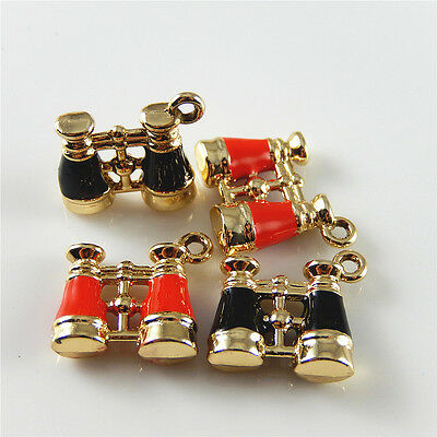 10pcs/lot Red Black Enamel Alloy Telescope Shape Crafts Pendants Charms Jewelry