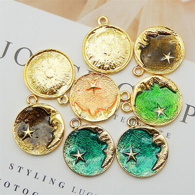10pcs/lot Multi-color Enamel Alloy Moon Star Look Pendants Charms Jewelry Crafts