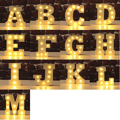 LED Wooden Marquee Letter Alphabet Symbo Decorl Lights Sign Vintage Style A - Z
