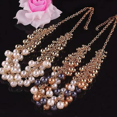 Fashion Jewelry Pendant Crystal Chain Chunky Statement Pearl Bib Necklace GiftWd