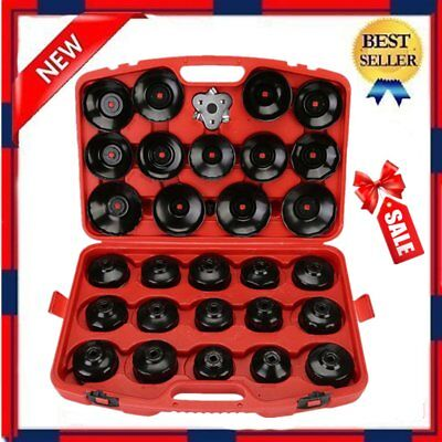 30 PCS Cup Type Oil Filter Cap Wrench Socket Removal Tool Set W/case US STOCK SK