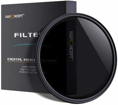 K&F Concept 46mm Slim ND2 4 8 to ND400 Adjustable ND Neutral Density Filter